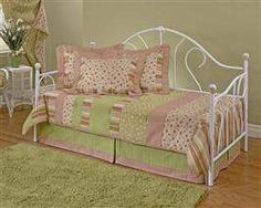 Hillsdale Bristol Day Bed with Roll Out Trundle and Mattress Frame in White Bedroom Furniture, Home Furniture, Iron Furniture, Furniture Showroom, Garden Furniture, Furniture Ideas, Girls Daybed, Daybed Bedding, Metal Daybed