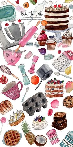 Bake the Cake by Andele Illustrations on Food Backgrounds, Cute Wallpaper Backgrounds, Cute Wallpapers, Baking Wallpaper, Food Wallpaper, Printable Scrapbook Paper, Recipe Scrapbook, Cake Illustration, Food Illustrations