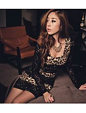 Women's Sexy U Neck Leopard Splicing Mini Dre... – USD $ 13.99