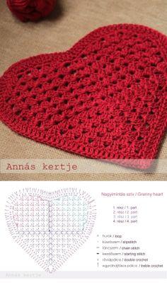 A pretty granny heart motif, free pattern generously shared by Annas Kertje. . . . . ღTrish W ~ http://www.pinterest.com/trishw/ . . . . #crochet