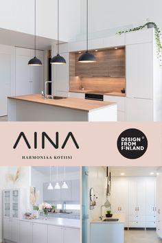 Me AINA-keittiöillä haluamme luoda harmoniaa kaikessa mitä teemme. Uskomme, että jokainen voi edullisesti ja jouhevasti löytää juuri itselleen sopivat kotimaiset kodin kalusteet keittiöön, kylpyhuoneeseen ja muuhun kodin säilytykseen. 🖤 AINA-kalusteet tehdään kustannustehokkaasti mittatilaustyönä ja värikartan yli 8000 sävyä takaavat yksilölliset ja sisustukseesi sopivat ratkaisut. Inspiroidu sivuillamme ja varaa maksuton suunnitteluaika. Cute Kitchen, Decorating, Building, Design, Home, Decor, Decoration, Buildings, Dekoration