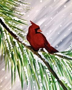 Hey! Check out Winter Cardinal Visit at Parkway Lanes (Elmwood Park) - Paint Nite. Cardinal painting on snow covered tree branch.