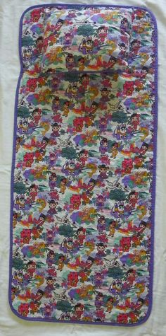 "MoeMoe Japanese Print Quilted Child's Nap Mat with Pillow 47"" x 21"" #Unbranded"