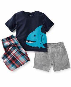 Carter's Toddler Boys' Shark Tee, Shorts & Pajama Pants