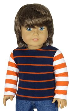 American Girl Boy Doll Clothes - Navy and Orange Striped Top with Orange and White Sleeves.