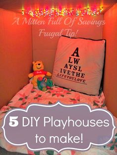Create your own Playhouse with these 5 boy and girl ideas!! Plus you can save money when you DIY!!  5 diy playhouses to make #diy #kids
