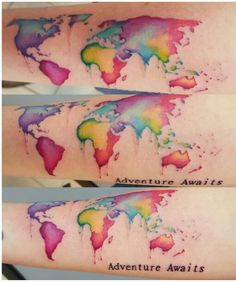 40 world map tattoos that will ignite your inner travel bug map 40 world map tattoos that will ignite your inner travel bug map tattoos watercolor and tattoo gumiabroncs Gallery
