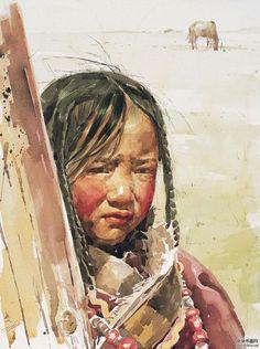 Zhiming born in Shanghai, Portrait Au Crayon, Portrait Art, Watercolor Portrait Painting, Watercolor Art, Chinese Painting, Chinese Art, Korean Artist, Cool Paintings, Art Studies
