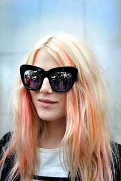 a pop of orange in the hair