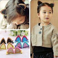1pc Lovely Cat Ear Hairpins Hair Ornaments Hair Jewelry Children Hair Accessoreis Girls Hair Clip Kids Barrettes Hairpins