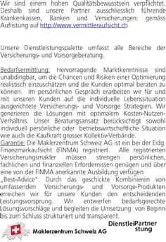 Unternehmensfactsheet Мaklerzentrum Schweiz AG