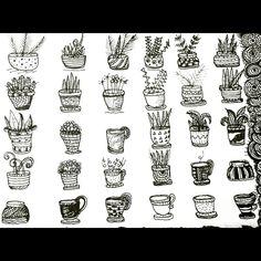 #art #print #ink #plants #pen #summer #pots #diy #cards #illustration #drawing #doodle #design