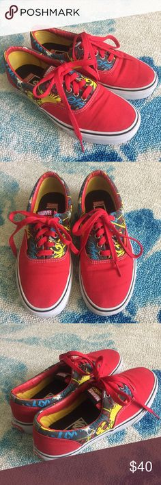 Vans Red Ironman Shoes Very good condition. Red ironman vans. Size 7 mens. Women's 8.5. Marvel comics shoes. Vans Shoes Sneakers