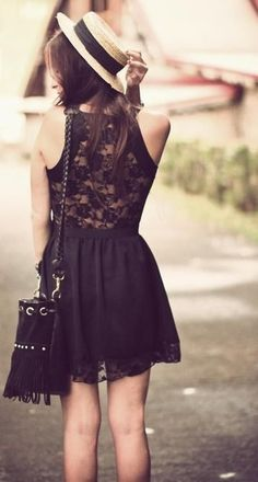 Summer, lace dress, Black, Outfit