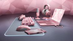 """This year Razer's """"Quartz"""" line of pink gaming gear expands by a microphone, wireless PlayStation 4 controller, headset stand, phone case, and a limited edition pink metal Razer Blade Stealth laptop Gamer Setup, Gaming Room Setup, Computer Setup, Pc Setup, Gaming Computer, Laptop Gaming Setup, Gaming Rooms, Desk Setup, Laptop Computers"""