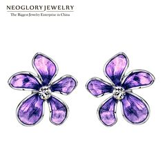 Austria Rhinestone Imitation Enamel Colorful Flowers Stud Earrings For Women Fashion Jewelry  New Great, huh? Visit our store