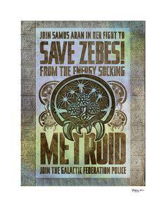 "Save Zebes - Metroid Geek Art Poster - signed museum quality giclée fine art print 16"" x 20"""