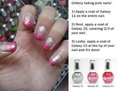 fading pink glitter nails, so pretty Pink Glitter Nails, Pink Nail Art, Nail Art Designs, Nancy Nails, Nail Polish Style, Galaxy Nails, Tips & Tricks, Elegant Nails, Dream Nails