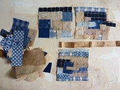 Heike Gerbig - fragments with blue and bag of scraps by HGhandmade