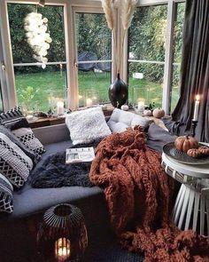 Living Room Decor, Bedroom Decor, Fall Bedroom, Cosy Bedroom, Cozy Living Rooms, Decor Room, Bedroom Ideas, Cozy Corner, Cozy Room