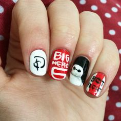 Big Hero 6 nails! Use acrylic paint to creat nail art like this!
