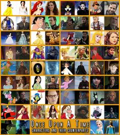 The listing of the Once Upon A Time characters with their fairy-tale counterparts.