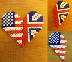Hetalia - USUK Friendship Perler Bead Pendants by InvaderCasie