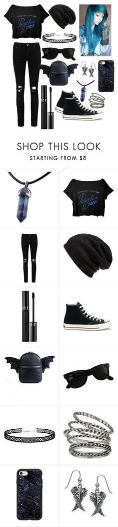 """Emo Outfit"" by midnightsweets ❤ liked on Polyvore featuring Boohoo, Barefoot Dreams, Sephora Collection, Converse, Current Mood, Ray-Ban, LULUS, Miss Selfridge, Casetify and Bling Jewelry"
