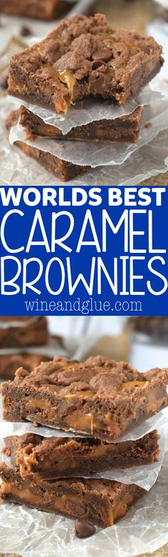 These World's Best Caramel Brownies are SUPER EASY to make and everyone ALWAYS asks for the recipe! (Worlds Best Brownies) Easy Desserts, Delicious Desserts, Dessert Recipes, Yummy Food, Carmel Desserts Easy, Desserts For Potluck, Dessert Ideas, Bar Recipes, Recipies
