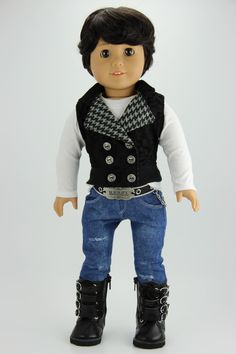 Handmade 18 inch doll clothes - Boy black and gray 4 piece vest outfit (410black) by DolliciousClothes on Etsy