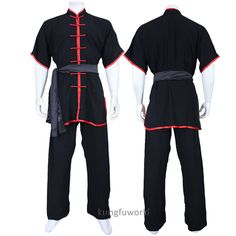 New Arrival Beautiful Cotton Changquan Uniform Black with Red Trims Chinese Martial arts Kung fu Suit Kung Fu Martial Arts, Chinese Martial Arts, Kung Fu Uniform, Martial Arts Clothing, Wing Chun, Character Outfits, Tai Chi, Sport Outfits, Nike Jacket