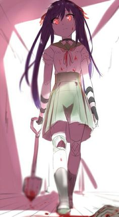 This is a great anime by there& a lot of blood - Yandere Girl, Yandere Anime, Animes Yandere, Anime Zombie, Zombies, Slice Of Life Anime, Blood Anime, Manga Anime, Psycho Girl