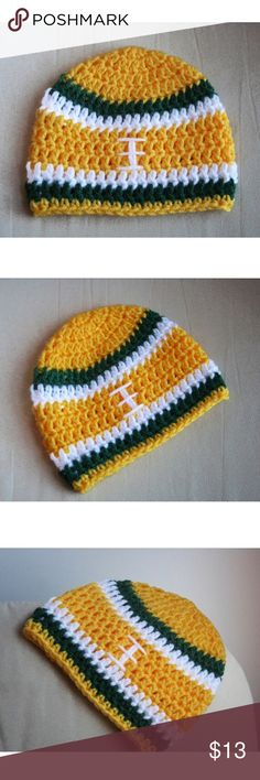 Green bay packers beanie Handmade crochet football team hats! Can be made in any team colors  CAN BE MADE IN ANY SIZE( Newborn-adult) smokefree house hold  3/4 day shipping guarantee  Any questions feel free to ask ( let me know if you want a team that i havnt made yet  ) Accessories Hats