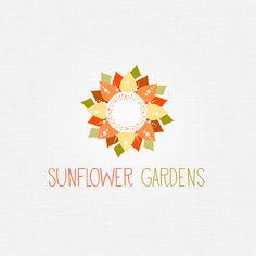 Premade Sunflower Logo Orange Flower Logo Radial Logo by amber84