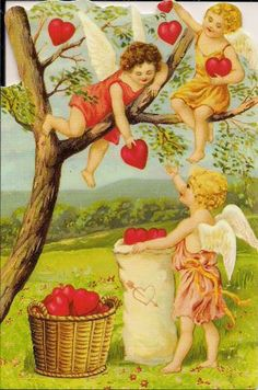 Postcrossing US-1515219 - Vintage Victorian Valentine with cupids and a tree.  Sent to Postcrosser in the United States in January, 2012.