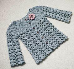 Ravelry: Sweet Little Cardigan pattern by Mon Petit Violon Pull Crochet, Crochet Girls, Crochet Baby Clothes, Crochet For Kids, Free Crochet, Unique Crochet, Crochet Dresses, Easy Crochet, Gilet Crochet