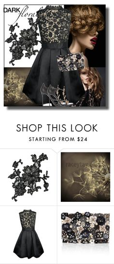 """""""Dark Florals"""" by sheri-gifford-pauline ❤ liked on Polyvore featuring MARBELLA, Accessorize, Roberto Cavalli, blackandgold, floral, black, Flowers and darkflorals"""