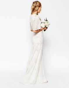 Image 2 ofASOS BRIDAL Iridescent Flutter Sleeve Maxi Dress