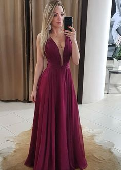 Simple v neck chiffon burgundy long prom dress, burgundy evening dress sold by OKProm. Shop more products from OKProm on Storenvy, the home of independent small businesses all over the world. Burgundy Evening Dress, Evening Dresses Uk, Sexy Evening Dress, V Neck Prom Dresses, Long Bridesmaid Dresses, Cheap Prom Dresses, Burgundy Bridesmaid, Dress Prom, Dress Long