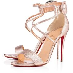 Women's New Arrivals - Designer Shoes & Handbags - Christian Louboutin... (€685) ❤ liked on Polyvore featuring bags, handbags, shoes, strappy high heel sandals, high heels sandals, rose gold shoes, christian louboutin sandals and strappy stilettos