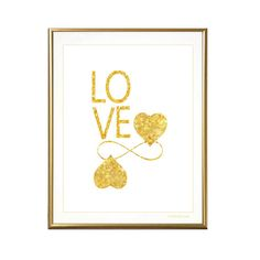 Gold Love art print infinity heart printable valentines by gonulk