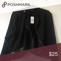 Plus size jacket Plus size moto jacket black with gold trim. New with tags. Fashion to Figure Jackets & Coats