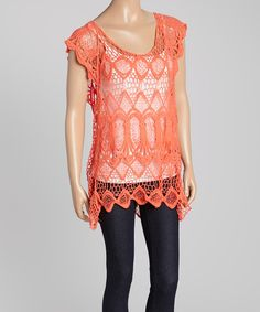 Look at this Aqua Blue Coral Crochet Sleeveless Top on #zulily today!