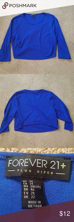 NWOT F21+ Blue Knit Crop Top NWOT! Beautiful blue knit crop top from Forever 21. Never worn and never washed! Forever 21 Tops Crop Tops