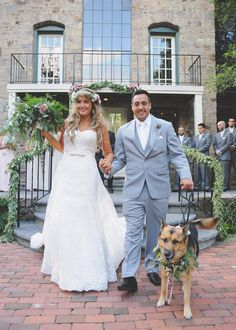 6 Fun Ways to Include Your Dog on Your Wedding Day; Have them trot down the aisle. If they're well trained and housebroken, of course! Stephanie and Andres Freire had their gorgeous German Shepherd named Mona serve as their flower girl and ring bearer at their HollyHedge Estate wedding.