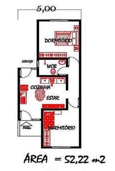 Só Projetos Grátis: Projeto grátis de uma casa com 52 M² para terrenos com 5 metros de largura