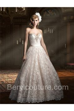 Ball Gown Sweetheart Champagne Satin Lace Beaded Wedding Dress With Sash