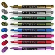 Wine Glass Metallic Markers - Set of 8 Colors Glass Markers Arteza Paint Pens, Gel Pens, Wine Glass Markers, Glass Paint Markers, Posca, Marker Pen, Rock Crafts, Pen Sets, Stone Art