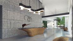 30 Unbelievable Reception Desk Ideas For Your Minimalist Office - Feed My Design. Reception Desk Design, Lobby Reception, Reception Counter, Office Reception, Office Space Design, Office Interior Design, Showroom Design, Corporate Interiors, Office Interiors
