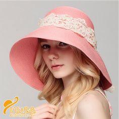 84f2cdcf0dd Lace straw hat wide brim for women UV package